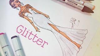 getlinkyoutube.com-Desenho de Moda Rápido - Vestido com Glitter