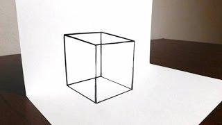 getlinkyoutube.com-How to Draw a Transparent 3D Cube - Easy Trick Art