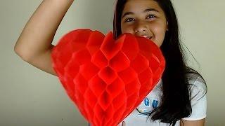 getlinkyoutube.com-Como Fazer um Coração de Papel de Seda - Favo de Mel