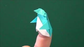 """getlinkyoutube.com-「ペンギンの指人形」折り紙""""Finger puppet of penguin"""" origami"""