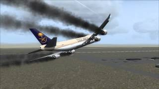 getlinkyoutube.com-Saudia Cargo 747-8F Crash Jeddah [Engine Fire / Gear Fail]