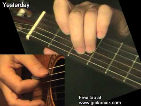 Yesterday - Beatles, learn how to play easy on acoustic guitar - lesson, chords &amp; tab