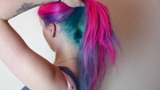 getlinkyoutube.com-Magenta, Violet & Turquoise Hair Dye Tutorial