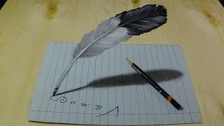 getlinkyoutube.com-Drawing Feather, Trick Art Illusion on Lined Paper