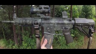 getlinkyoutube.com-How to camouflage a rifle (sponge method revisited)