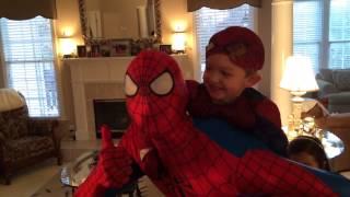 getlinkyoutube.com-Surprise Spiderman at Grayden's 3rd Birthday!