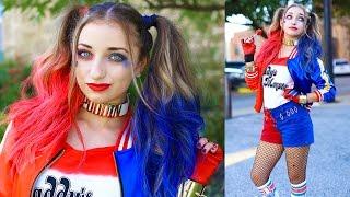 getlinkyoutube.com-Harley Quinn Pigtails   DIY Halloween Costumes   DIY Halloween Hairstyles