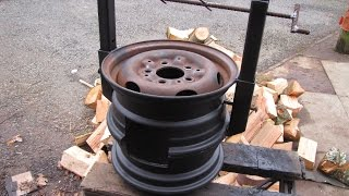 getlinkyoutube.com-DIY Wood Stove made from Car Wheels! Easy Welding Project! Bacon! CATS!