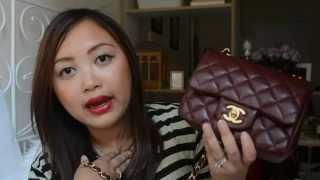 getlinkyoutube.com-Reveal: Chanel Mini Square Bag in Burgundy