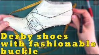 getlinkyoutube.com-How to make shoes: Transforming derby shoes with laces to fashionable buckle model