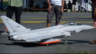 getlinkyoutube.com-Agile performance R/C Scale Jet Eurofighter Typhoon with Canard and fuel Tanks Payerne Air Show 2015
