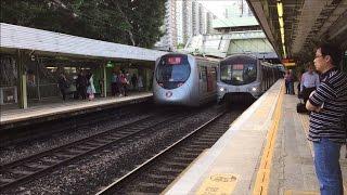 getlinkyoutube.com-MTR HD 60 FPS: East Rail Line Metro Cammell MLR & Kinki Sharyo SP1900 Trains @ Fanling Station