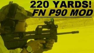Ruger 10/22 in FN P90 Stock!   Shooting  220 Yards!