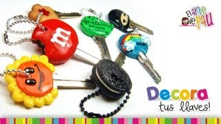 getlinkyoutube.com-Decorate your keys with Polymer clay / Decora tus llaves con Arcilla Polimérica