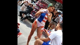 getlinkyoutube.com-Naked women in Times Square - A different form of... art, in New York