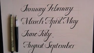 how to write in cursive (calligraphy) - months for beginners