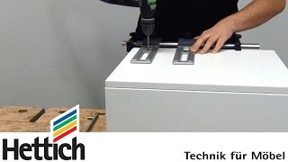 Assembly of furniture handles using Accura drilling jigs made by Hettich