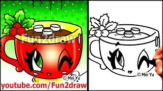 How to Draw Food + Drinks - Hot Chocolate with Marshmallows - Fun2draw Art