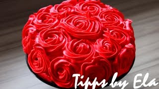 getlinkyoutube.com-Rose Cake Tutorial whipped cream  - How to make a rose swirl cake no Fondant