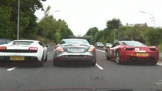 getlinkyoutube.com-Lamborghini vs SLR vs Ferrari