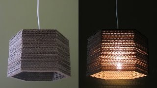 getlinkyoutube.com-Cardboard lamp DIY (hexagon) - best out of waste project - EzyCraft
