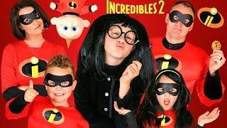 Disney Pixar Incredibles 2 Edna Mode Makeup and Costumes! Incredibles Family Lost Jack Jack!!! width=