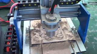 getlinkyoutube.com-0404 CNC router demo: MDF wood relief, China CNC Router