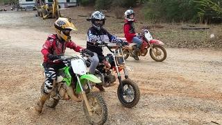 Kids riding Dirt bikes, drag racing, and big jumps at High Fall MX width=