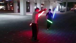 getlinkyoutube.com-Real lightsaber duel--saber staff vs dual--112113