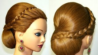 getlinkyoutube.com-Hairstyle for medium long hair,  bun updo with french braid