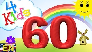 getlinkyoutube.com-Numbers counting from 51 to 60 for children. Counting fiftyone to sixty (english)