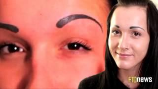 getlinkyoutube.com-Pretty Girl Ruins Her Face With Eyebrows Tattoo - Tattoo FAIL