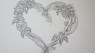 getlinkyoutube.com-Amazing Easy Rose Drawing With A Heart - Drawing Tutorial