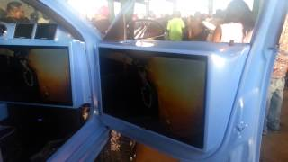getlinkyoutube.com-Riding Big Car Show 2014 BIGGEST TV SCREEN & Big 32 Inch Rims on Cars Donk (part 3)