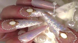 getlinkyoutube.com-OMBRE PINK PEARL MERMAID TAIL (Acrylic & Gel Polish )