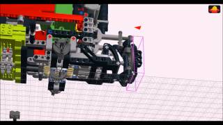 getlinkyoutube.com-Suspended LEGO Technic Articulated Dump Truck Building Instructions