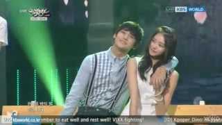 "getlinkyoutube.com-[LIVE] 140620 Mingyu on stage with Raina & San E ""한여름밤의 꿀"" Music Bank"