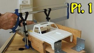 getlinkyoutube.com-Tamiya clod buster body - extended to fit on a RC4WD TF2/Axial SCX 10. Part 1