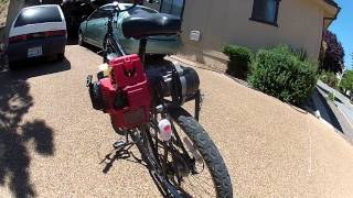 getlinkyoutube.com-Honda GX engine on bicycle with pocketbike CVT transmission