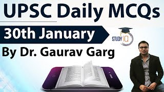 UPSC Daily MCQs on Current Affairs - 30 January 2018 -  for UPSC CSE/ IAS Preparation Prelims