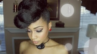 getlinkyoutube.com-Extravagant Faux Updo Protective Hairstyle Hair Tutorial on Natural Hair