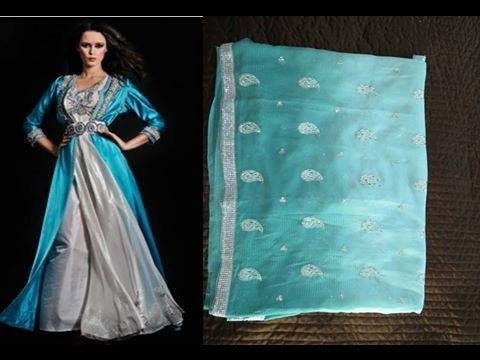 Vente joli Caftan Sari bleu eau - MAROC
