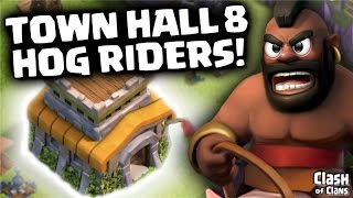 "getlinkyoutube.com-Clash of Clans ""Hog Rider Three Stars"" Town Hall 8 Attack Strategy in Clash!"