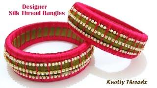getlinkyoutube.com-How to make Designer Silk Thread Bangles at Home | Tutorial