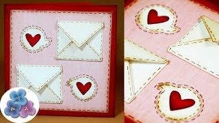 getlinkyoutube.com-Tarjetas de Amor - Tarjetas de San Valentin DIY Card Making Tutorial Scrapbook Pintura Facil