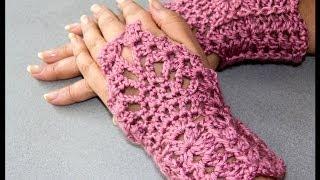 getlinkyoutube.com-Crochet : Guantes sin dedos (Mitones) 2