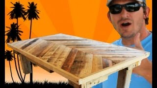 getlinkyoutube.com-How to Build a Coffee Table out of Pallet Wood: Project 5 Paint/Distress/Antique Furniture