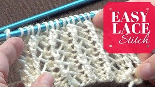 getlinkyoutube.com-Easy Lace Stitch | One Row Repeat