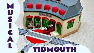 getlinkyoutube.com-Take Along Thomas The Train Musical Tidmouth Sheds James Henry Percy & Toby Take N Play Kids Toy