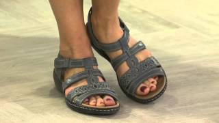 getlinkyoutube.com-Clarks Leather Multi-Strap Sandals - Leisa Apple with Courtney Cason